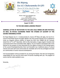 GENERAL LETTER OF INVITATION TO THE EBO (IGBO) LANDING PROJECT 2015